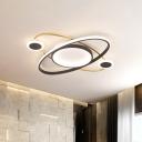 Acrylic Planet Flush Light Fixture Modernist LED White Finish Flush Mount Lamp for Bedroom in Warm/White Light