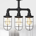 3/4 Heads Caged Semi Flush Mount Vintage Black Finish Clear Glass Flush Lamp Fixture