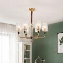 3/6-Bulb Cylinder Pendant Chandelier Modern Brass Crystal Block Hanging Ceiling Lamp