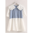 Fashionable Girls Short Sleeve Peter Pan Collar Button Up Plaid Print Patched Lace Trim Blouse Top