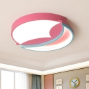 Bedroom LED Flushmount Lighting Contemporary Pink/Blue Ceiling Mounted Fixture with Crescent Acrylic Shade