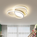 Nordic LED Flush Mount Ceiling Light White/Pink/Blue Finish Heart Design Lighting Fixture with Acrylic Shade for Bedroom