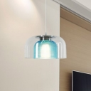 Vintage 2-Layer Bowl Pendant Lighting Blue Lattice and Clear Glass 1 Bulb Sitting Room Suspension Lamp