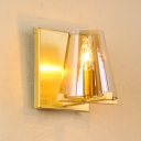 Gold Cone Wall Mount Lamp Mid Century 1-Light Amber Glass Sconce Light with Open Top Design