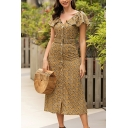 Casual Fancy Ladies Short Sleeve V-Neck Ruffled Trim Ditsy Floral Button Down Maxi A-Line Dress