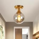 Ball Flush Mount Ceiling Light Minimalist Smoke Grey Glass 1 Head Foyer Flushmount in Brass