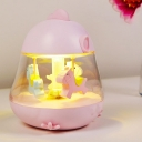 Plastic Carrousel Music Night Light Kids LED Night Table Lamp in Pink/Yellow/Blue with Clear Glass Shade