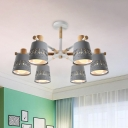 Grey Etched Cone Shade Flush Chandelier Nordic 6-Light Iron Semi Flush Mount Ceiling Light with Branching Wood Arm