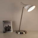White Hollowed Funnel Rotating Night Lamp Modern 1 Bulb Iron Nightstand Light for Bedside