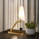 Designer Tapered Milk Glass Night Lamp Single-Bulb Table Light with Brass Stand