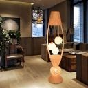 Bamboo Rattan Fish Floor Light Asian 4 Bulbs Wood Standing Lamp with Dangling Ball Shade