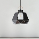 1 Bulb Restaurant Hanging Lighting Modernist Black/Grey/Pink Finish Suspension Lamp with Diamond Metal Shade