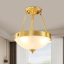 3-Light Bowl Semi Mount Lighting Retro Brass Matte Glass Ceiling Mount Chandelier