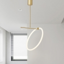 Gold Loop Pendulum Light Simple LED Acrylic Hanging Ceiling Lamp for Dining Room