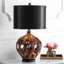 Rustic Hollowed Out Jar Table Light Single Ceramic Nightstand Lamp in Gold/Rose Gold with Straight Side Fabric Shade