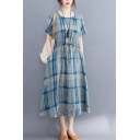 Casual Vintage Short Sleeve Round Neck Drawstring Waist Plaid Print Linen and Cotton Long Swing Dress for Ladies