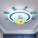 Mediterranean Rudder Flushmount Metallic LED Bedroom Flush Light Fixture in White and Blue with Acrylic Shade