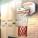 White Glass Basketball Wall Lamp Kids 1-Light Wall Mounted Fixture with Hand Woven Shooting Box