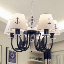 Coastal 5/6 Heads Ceiling Chandelier Blue Swooping Arm Hanging Lamp with Conical Fabric Shade
