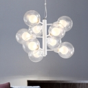 Branching Chandelier Lamp Modern Clear and Frosted Glass 9 Heads White Ceiling Pendant Light