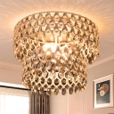 White 2-Bulb Semi Flush Light Modern Clear Crystal Double Layered Flush Mount Lighting