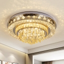 Contemporary Round/Flower Flushmount LED Faceted Crystal Ceiling Flush Mount Light in Chrome