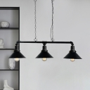 3 Bulbs Iron Pendant Light Warehouse Black Piping Loft House Hanging Lamp over Island with Cone Shade