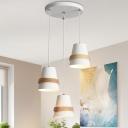 Modernist Cup Shade Multi Light Pendant Metal 3 Lights Dining Room Hanging Lamp Kit in White/Black