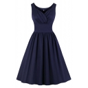 Formal Girls Solid Color Sleeveless Surplice Neck Ruffled Gathered Waist Mid Pleated Swing Dinner Dress