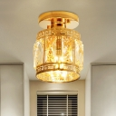 1 Bulb Cylinder Semi Flush Minimalist Gold Crystal Block Flush Mount Recessed Lighting
