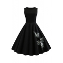 Womens Butterfly Embroidered Sleeveless Round Neck Audrey Hepburn Midi Pleated Flared Dress in Black