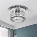 Modernist Cylinder Ceiling Lighting Clear Crystal LED Flush Light Fixture in Warm/White Light