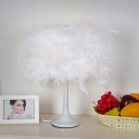 Contemporary 1-Light Night Table Light White Feather Desk Lamp with Fabric Shade for Living Room