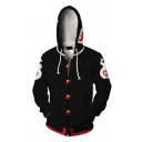Harajuku Mens Long Sleeve Zip Up Drawstring Letter Button Cartoon 3D Printed Contrasted Loose Cosplay Hoodie in Black