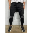 Cool Chic Black Mid Rise Distressed Ankle Length Skinny Jeans for Guys