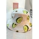 Cute Stylish Girls All Over Cartoon Avocado Printed Bucket Hat