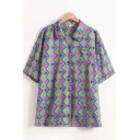 Popular Womens Short Sleeve Lapel Neck Button Up Plaid Cartoon Printed Chest Pocket Relaxed Shirt in Green
