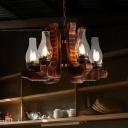 Clear Glass Bottle Chandelier Light Fixture Loft Style 6-Head Restaurant Pendant Lighting with Wood Arm