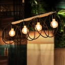 Black Bare Bulb Ceiling Chandelier Warehouse Rope 3-Head Dining Room Hanging Pendant with/without Metal Ring Deco