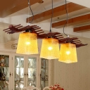 Brown Trapezoid Island Light Fixture Country Amber Water Glass 3-Light Dining Room Pendant Lamp with Wood Wavy Shelf