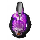 Mens Trendy Long Sleeve Drawstring Zipper Front Japanese Letter Flame Skull 3D Cosplay Pattern Colorblock Relaxed Hoodie in Purple