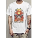Fashionable Boys White Short Sleeve Crew Neck Cartoon Sun Flame Printed Relaxed Fitted T-Shirt
