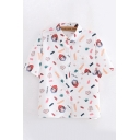Popular Womens Short Sleeve Lapel Collar Button Up All Over Cartoon Printed Chest Pocket Relaxed Shirt in White