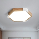 Hexagon Bedroom Flushmount Lighting Wood LED Minimalism Ceiling Mounted Fixture in White/Warm Light, 16