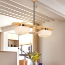 Modern Nordic Rectangle Pendant Light Wood 2 Heads Dining Room Ceiling Chandelier with Square Cream Glass Shade