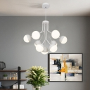 Bulbs Dining Room Pendant Chandelier Contemporary White 2 Tiers Suspension Lighting with Ball Acrylic Shade