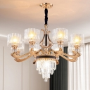 Black and Gold 6/8 Lights Pendant Modernism Crystal Block Drum Shaped Chandelier Lighting
