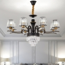 Curved Arm Living Room Chandelier Light Modern Metal 6/8 Bulbs Black Ceiling Pendant Lamp with Conic Crystal Block Shade