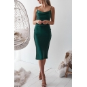 Ladies Glamorous Sleeveless Cowl Neck Solid Color Silk Midi Sheath Slip Dress in Green