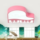 Piano Shaped LED Flush Mount Lamp Contemporary Acrylic Pink Ceiling Mounted Fixture for Kindergarten